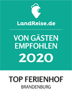 2020 zum TOP Ferienhof in BRANDENBURG, Landreise.de, gekürt